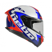 CASCO HEBO FACE INTEGRAL COLOR BLACO AZUL Y ROJO