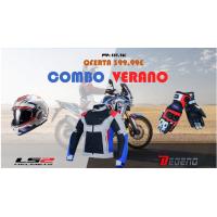 COMBO LS2 VALIANT 2 REVO BLANCO + GUANTES Y CHAQUETA