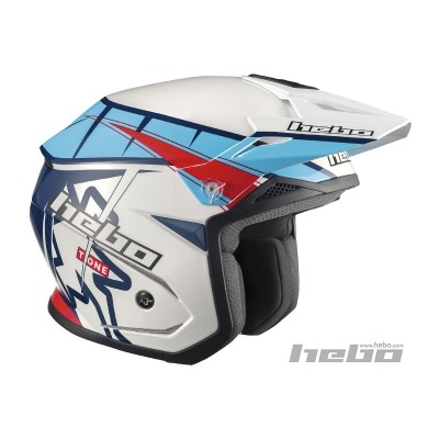 Casco YET   trial Zone 5 T-ONE BLANCO Y AZUL